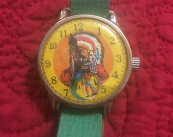 Vintage 1960's Toy Watch Indian Chief