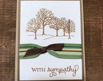 Brown and Green Trees Sympathy Card