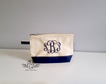 Monogram cosmetic bag, personalized make up bag, navy canvas make up bag, monogrammed gift, bridesmaids gift, graduation gift for her