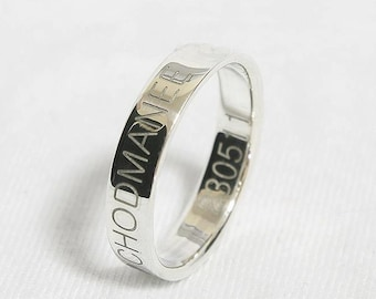 Personalized Engraved Stacking Ring, Engraved Promise Ring,  Engraved Silver Wedding Band, Memorial Jewelry, ACTUAL Handwriting Jewelry