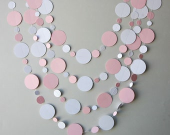 Baby shower garland, Babies party decoration, Pastel pink & white, New born, Paper garland, Sprinkle shower, First Birthday party,KN2C-169BN