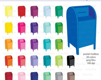 Postal Box Mailbox Icon Digital Clipart in Rainbow Colors - Instant download PNG files
