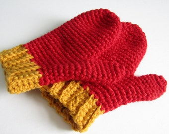 Red and gold mittens - child age 3 - 6 - wool and alpaca mix - natural fibers