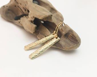Gold Filled Patterned Bar Earrings E456GF - handmade by cristysjewelry