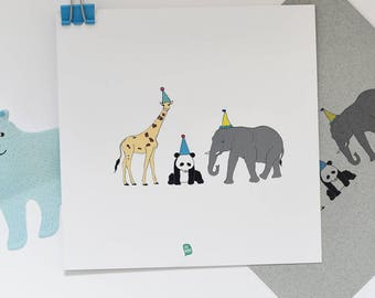 Birthday invitations 10pcs Zoo panda giraffe elephant print art invitation,  kids birthday party, kinder