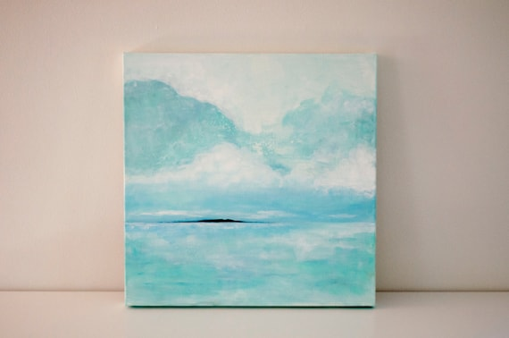 "Original 18x18 Painting ""Island Seascape"" FREE SHIPPING"