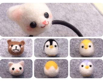 Handmade Needle Wool Felt Animal,Cat Bear Penguin Frog Elastic Band