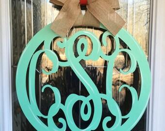 3 letter monogram door hanger, monogram door hanger, monogram, monogram circle door hanger, bright door hanger, 3 letter monograms, custom