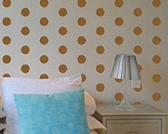 "2"" Gold Polka Dot Vinyl Wall Decals / Polka Dot Wall Decals / Bedroom Wall Decals / Kids Room Wall Decal / Dining Room Wall Decal"