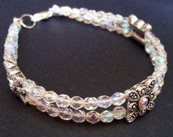 Swarovski Crystal Bridal Bracelet - Wedding Marcasite Dainty Bride - Clear Silver Jewellery Jewelry For Women - Delicate Czech Firepolish