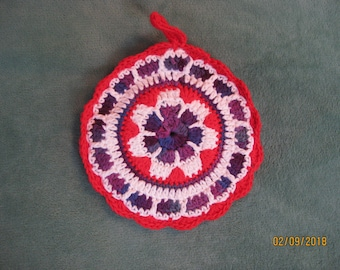 Hand Crocheted Round Potholder Red White Variegated Jewel tones