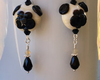 Swarovski Crystal and Lampwork Beaded Dangle Earrings  handmade  ooak srajd dog pets