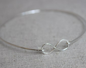infinity bracelet, stacking bangle, dainty bracelet, stacking bracelets, hand forged jewelry, sterling silver bangle