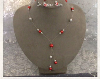 Necklace made of pearly beads red and gray