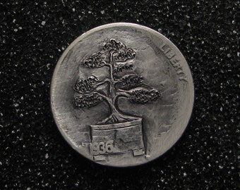 Hobo Nickel Bonsai by M.J. Petitdemange Buy Coin online-Rare coin-Handcarved-Folkart-Jewelry-Art-metal-sculpture-Metal Relief-OOAK-Trench