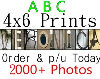 4x6 PRINTS ALPHABET Photos 4.99 per letter ABC Photography Letter Pic Art Name Color Sepia Black