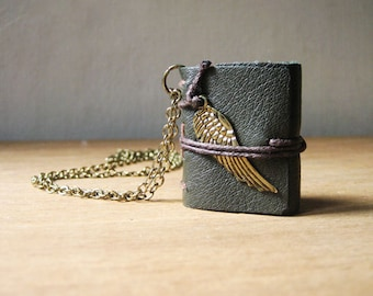 Miniature Book necklace jewelry mini book leather hand stitched journal necklace  for women eco friendly jewelry  tiny sewn book