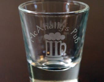 McAnally's Pub shot glass - Dresden Files shot glass - Harry Dresden shot glass - single side and double side options available