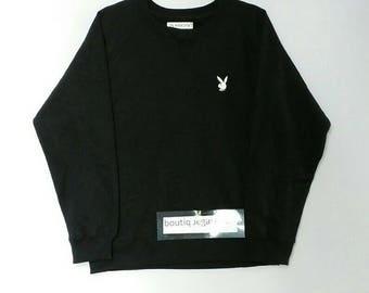 Rare!! Play boy sweatshirt big logo spellout pull over jumper sweater black colour medium size