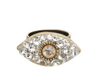 Glamorous Gold and Crystal Evil Eye Ring / Swarovski Crystal Cocktail Ring / Fully Adjustable- One Size Fits All