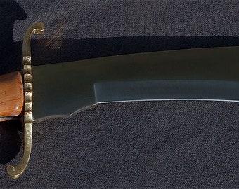 "Dress Kukri (Gurkha) Sword, Hand-milled plum wood handle, 17"" length with custom leather belt scabbard"