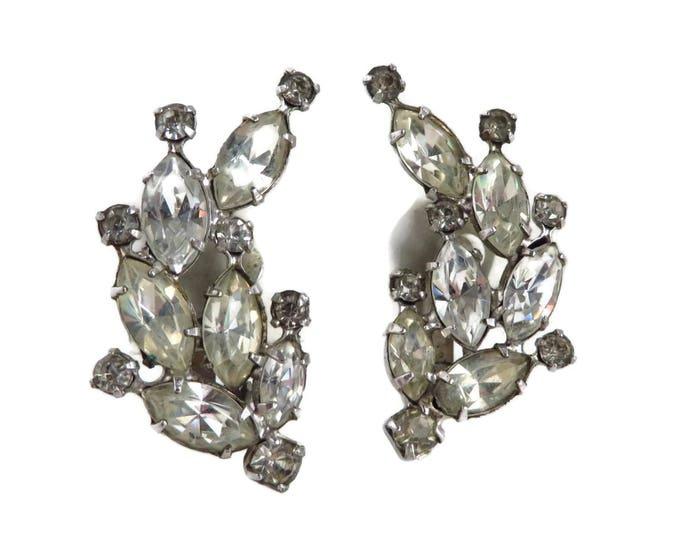Bridal Earrings, Vintage Rhinestone Earrings, Signed Weiss Earrings, Silvertone Clip-ons, Wedding Jewelry, Unique Earrings, Gift Ideas