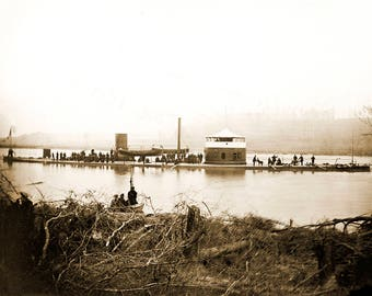 "1864 Monitor Mahopac, Appomattox River Vintage Photograph 8.5"" x 11"" Reprint"