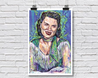 "12 x 18"" - Patsy Cline Art Print - Poster - country music nashville singer rockabilly honky tonk swing"