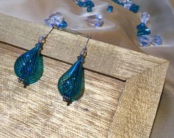 Blown Glass Aqua Drop Earrings - #J004
