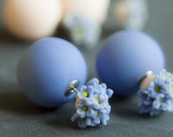 Double Sided Earrings, Double Pearl Tribal Earrings, Stud Earrings, Two Sided Earrings,  360 Earrings, Blue Earrings, Blue Flower