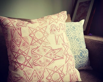 Pink graphic cushion cover handprinted