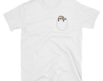Sloth in a Pocket Tshirt for Men and Women - Sloth Pocket Shirt