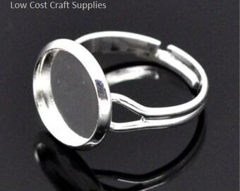 Silver Ring Blanks, Ring Blanks, Ring Settings, 12mm Ring Blanks, Adjustable Ring Blank, Adjustable Ring, Silver Adjustable Ring, Ring 12mm,