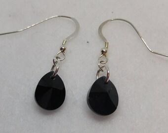 Sterling Silver Swarovski Crystal Jet Black Mini Pear Drop Earrings
