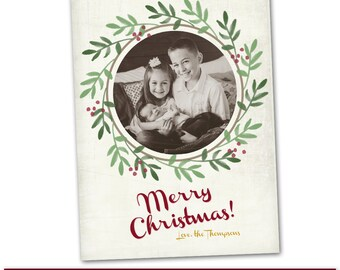 PSD Photoshop Template Family Christmas Holiday Card Template - HC151