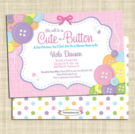 Marvelous Cute As A Button Baby Shower Invitation Girl Baby Shower