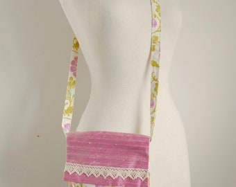 Small Crossbody Bag Small bag Pink floral bag Amy Butler Print Bag Pale pink and green bag Wedding trends 2018 Day bag Pink and green bag