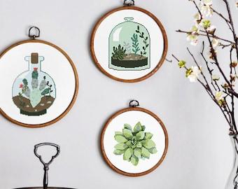 Succulents Cactus cross stitch pattern, Natural plants modern cacti counted cross stitch design, instant download, diy decor hoop art Garden