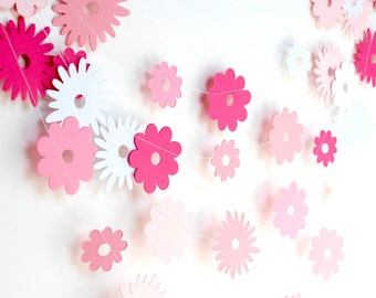 Pink flower garland etsy pink ombre paper garland paper flower garland nursery decor bridal shower pink baby shower party decor mightylinksfo