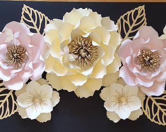 Large paper flower backdrop, Large paper flower decor, Large paper flower wall, Princess themed paper flowers.