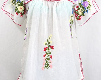 """Mexican Peasant Top Blouse Hand Embroidered: """"Lijera"""" White + Multi Color Embroidery ~ Size MEDIUM"""