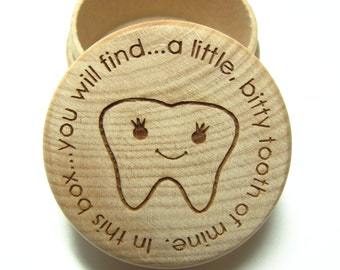 Wooden Tooth Fairy Box with lid
