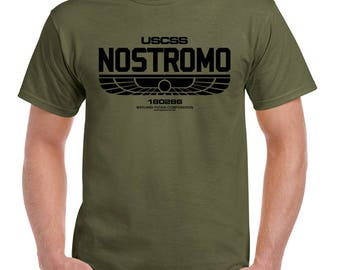 Nostromo Mens Alien Inspired T-Shirt Black Print 1158