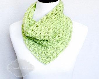 Green Crochet Bandana Cowl, Crochet Neck Warmer, Granny Square Cowl, Light Green Triangle Cowl, Celadon Neck Warmer,  Lacy Green Cowl