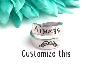 Custom ring wrap ring Custom - hand stamped ring - very sturdy ring - great gift - fun piece of jewelry - custom made ring- wrap around