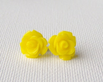 Yellow rose stud earrings / yellow earrings / hypoallergenic earrings / surgical steel earrings / birthday gift / gift for her