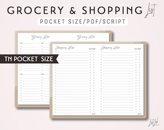 POCKET Size TN Grocery List and Shopping List - Printable Traveler's Notebook Insert - Script Theme