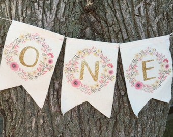 First birthday highchair banner, Gold glitter first birthday garland, baby girl bunting, I am one 1, photo prop cake smash