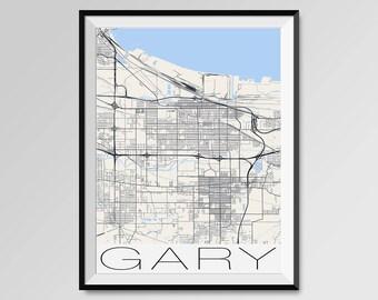 Gary indiana map Etsy