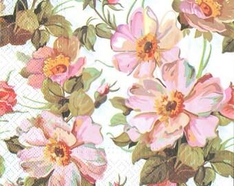 4 Decoupage Napkins, Paper Napkin for Decoupage, Wild Rose Flowers, Craft Napkin, Flower Napkin, Decoupage Paper